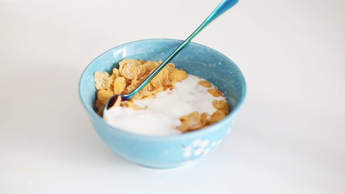 En blanding af müsli og yoghurt